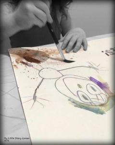 Mia painting dirty dino