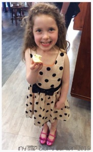 Miss 5 enjoying a cupcake.